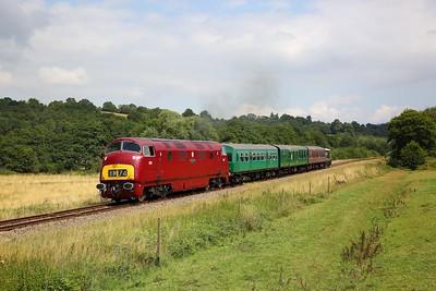 D821 on the 2J11 1230 Tunbridge Wells West to Eridge at Pokehill farm on the 2nd August 2019