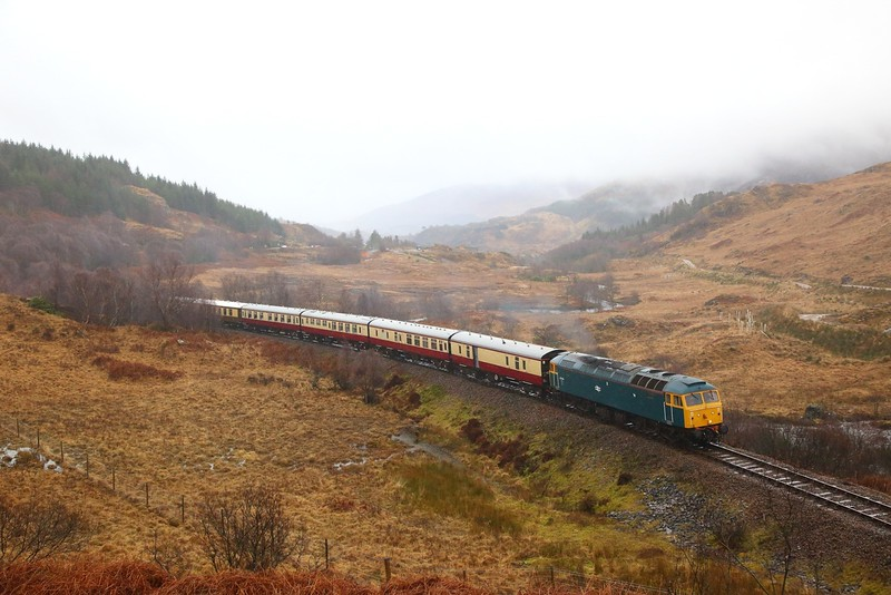 47614 (47853) on the 1Z40 0853 Fort William to Mallaig shortly after departing Glenfinnan on the 16th February 2019
