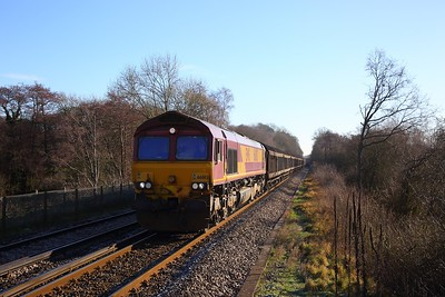66003 on the 6C24 0906 Dollands Moor to Daventry west of Edenbridge on the 3rd February 2019