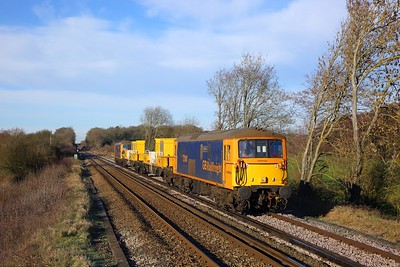 73141 tnt 73136 on 3Y74 0913 Tonbridge West yard circular via Redhill, Hastings and Dover, nears Edenbridge  03 02 19
