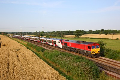 66001+745101 on the 5Q99 Ripple Lane to Norwich Crown Point at Wassicks, Haughley jnc on the 25th July 2019