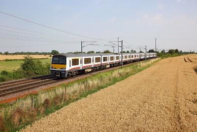 321315+321427 on the 1P23 0903 Norwich to London Liverpool Street at Wassicks, Haughley jnc o nthe 25th July 2019