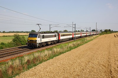 90001 on the 1P31 1100 Norwich to London Liverpool Street at Wassicks, Haughley jnc on the 25th July 2019