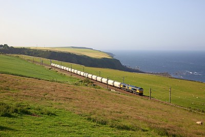 66739 on the 6E45 Fort William to North Blyth at Burnmouth on the 28th June 2019