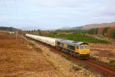 66738 on the 6E45 0807 Fort William to North Blyth at Achnabobane on the 25th March 2019