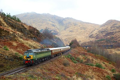 47501 tnt 47593 on the 1Z62 Mallaig to Fort WIlliam departing Glenfinnan viaduct on the 24th March 2019