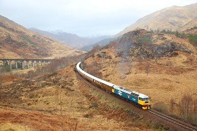 47593 tnt 47501 on the 1Z62 Mallaig to Fort WIlliam departing Glenfinnan viaduct on the 24th March 2019