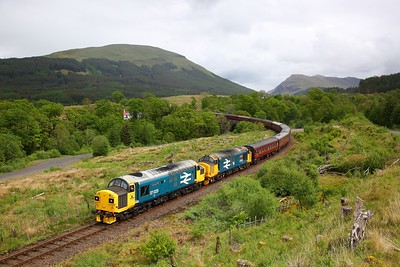 37025+37402 on the 1Z37 0510 Newcastle to Oban at Succoth, east of Dalmally on the 27th May 2019