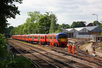 456021 derailed at Strawberry Hill depot with 455741+455917 behind, awaiting a recovery operation on the 30th May 2019 4