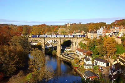 170474 forming the 2C09 1142 Knaresborough to Leeds over the River Nidd at Knaresborough viaduct on the 10th November 2019
