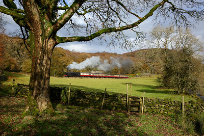 42073 departs Newby bridge during a photo charter on the Lakeside and Haverthwaite railway on the 3rd November 2019 1-2