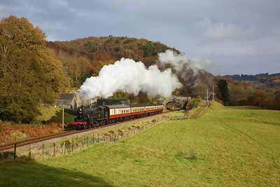 42073 departs Newby bridge during a photo charter on the Lakeside and Haverthwaite railway on the 3rd November 2019