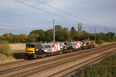 91120+91117+66786 on the 0Z91 0857 Bounds Green to Leicester at Great Paxton on the 5th October 2019 hires