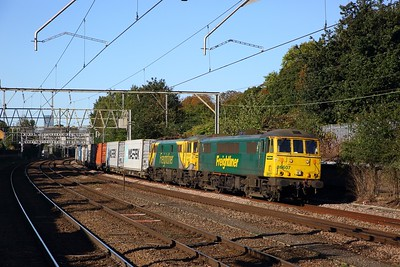 86607+86637 on the 4L91 Trafford Park to Felixstowe at Manor Park on the 2nd October 2019