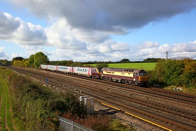 57305+220019 on the 5M98 Eastleigh to Barton under Needwood at Worting junction on the 19th October 2019