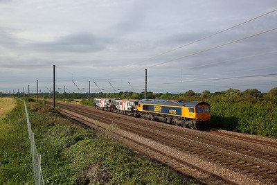 66786+91117+91120 on the 0Z91 0857 Bounds Green to Leicester at Great Paxton on the 5th October 2019