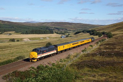 37419 tnt 37405 on the 1Q77 Inverness to Mossend at Dalnacardoch on the 7th September 2019