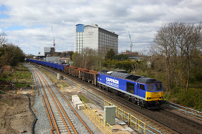 60028 on the 6Z62 1012 Eastleigh East Yard to Willesden DC Rail sidings at Feltham on the 2nd April 2020