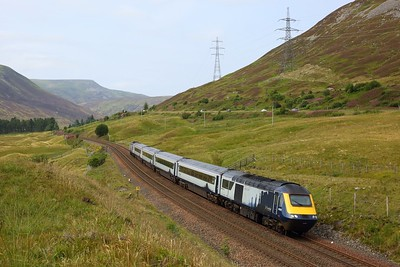 43028 leads 43137 on 1B31 1249 Inverness to Edinburgh at Dalnaspidal south of Dalwhinnie on 10 August 2020