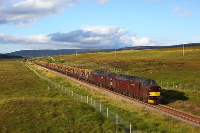 37516 leads 37669 on 6Z69 Georgemas junction to Inverness loaded timber at Kinbrace on 8 August 2020