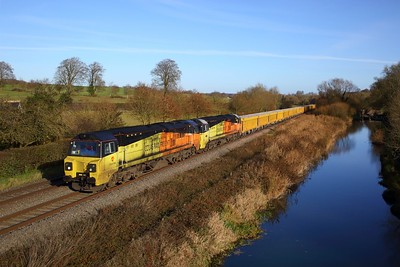 70811 leading 70802 on 6V14 Stud Farm to Westbury at Crofton, Bedwyn on 1 December 2020, Class70, Colas, BandH