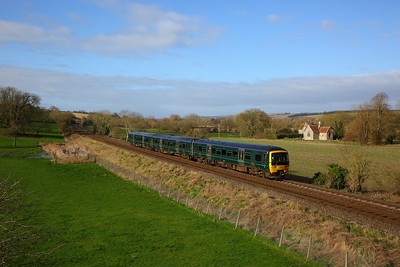 166210 on the 2O05 1111 Westbury to Southampton Central at Little Langford on the 4th April 2020