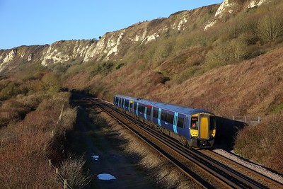 375621 on the 2R11 0709 London Charing Cross to Dover Priory at Capel le Ferne on the 6th February 2020