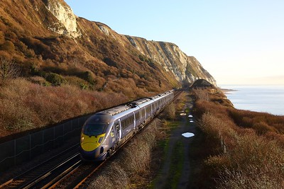 395003 on the 1J19 0849 Dover Priory to St Pancras International at Capel le Ferne on the 6th February 2020