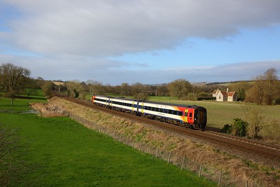 159104 on the 1O40 1045 Yeovil Pen Mill to London Waterloo at Little Langford on the 4th April 2020