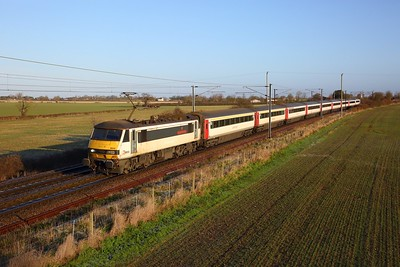 90012 on the 1P23 0900 Norwich to London Liverpool Street at Wassicks lane, Haughley junction on the 19th January 2020