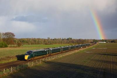 802005+802014 on the 1C84 1404 London Paddington to Penzance at Manningford Bruce on the 15th January 2020