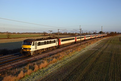 90009 on the 1P21 0820 Norwich to London Liverpool Street at Wassicks lane, Haughley on the 19th January 2020