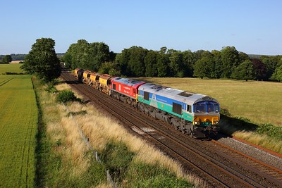 66711 leading 66136 working 6Y42 Hoo Junction to Eastleigh Up Yard at Wallers Ash on 17 July 2020  GBRF66, SWML