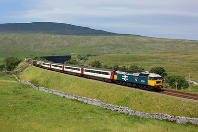 47593 tails 37521 working 1Z43 1218 Skipton to Appleby at Ribblehead viaduct on 31 July 2020  Class47, LSL, SandC