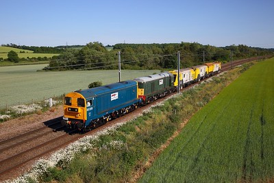 20205 leads 20007 on the West Anglian main line at Great Chesterford with 6X20 Romford to Derby RTC HSM milling machine move on 1 June 2020  LORAM, Class20, WAML