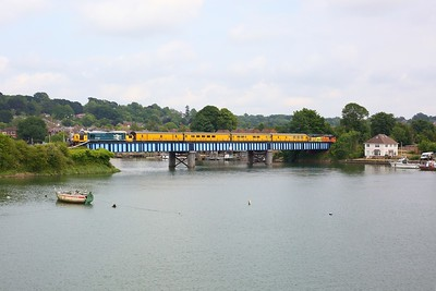 37025 with Colas Rail 37116 leading crosses the River Itchen at Bitterne on 1Q52 Eastleigh Arlington circular via Littlehampton, Totton, Guildford and Lymington on 9 June 2020  SWML, Class37, Test train