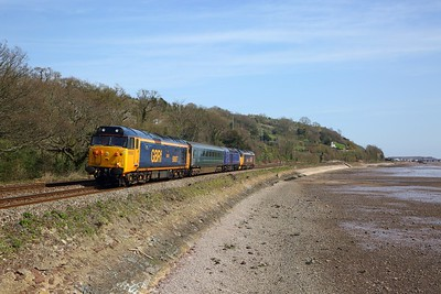 50007+MK312161+43091+50049 on the 5Z44 0916 Long Marston to Laira at Bishopsteignton on the 23rd March 2020