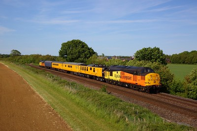 Colas Rail 37175 tnt 37099 works the 1Q90 1515 Derby RTC to Ferme Park via Cambridge, Audley End and LST test train at Langham on the Birmingham to Peterborough line on 25 May 2020