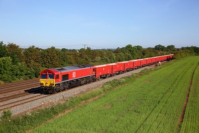 DB Cargo 66135 working the 6Z54 0801 Toton North Yard to Chesterton Jn at Cossington on the MML on 29 May 2020