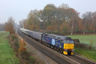 47813 leading 442414 and 57312 working 5Q86 Wolverton to Bournemouth at Chertsey on 27 November 2020  Class47, ROG, Chertseyloopline