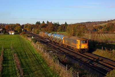 73141 leading 73212 powering the 3W90 Tonbridge West yard circular rhtt at Dorking on 5 November 2020  Class73, GBRf, MoleValley