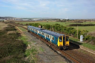 313201 working 2C24 1111 Brighton to Seaford at Bishopstone Halt, Tide Mills on 6 November 2020