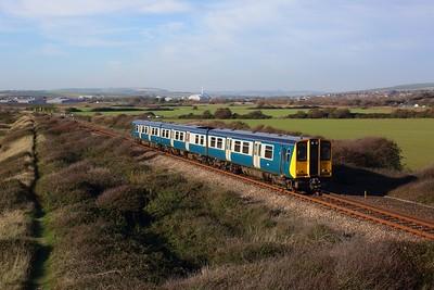313201 powering 2C30 1241 Brighton to Seaford at Bishopstone on 6 November 2020