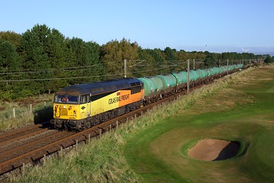 56302 powering 6R46 Grangemouth to Prestwick at Gailes, Irvine on 1 October 2020  Class56, Colas, AyrshireCoast