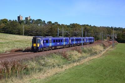 385032 working 2Y49 1024 Edinburgh to Glasgow Central at Hartwood on Shotts line on 2 October 2020  Class385, Scotrail, Shottsline