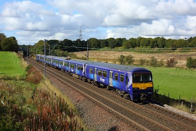 320315 leading 318251 working 2E74 1137 Balloch to Airdrie east of Easterhouse, at Manse Road, Bargeddie on 1 October 2020  Class320, Scotrail, NorthClydeline