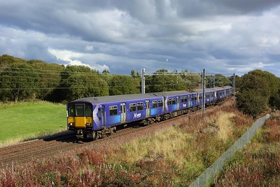318265 leading 320321 working 2E57 1346 Airdrie to Balloch at Manse Road, Bargeddie nearing Easterhouse on 1 October 2020  Scotrail, Class318, NorthClydeline
