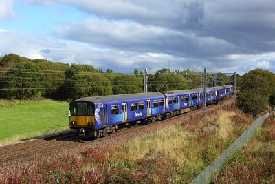 318251 leading 320215 working 2E55 1316 Airdrie to Balloch at Manse Road, Bargeddie approaching Easterhouse on 1 October 2020  Scotrail, Class318, NorthClydeline