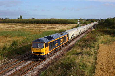 60021 working the 6N85 0841 Lynemouth Power Stn to Tyne Coal at Marcheys House junction on 4 September 2020