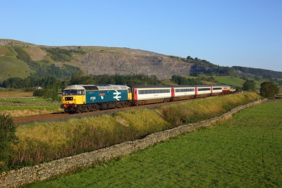 47593 leading 47712 with 5Z40 Appleby to Skipton at Helwith bridge on 1 September 2020